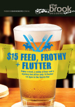 $15 Feed, Frothy & Flutter at The Brook Bar & Bistro
