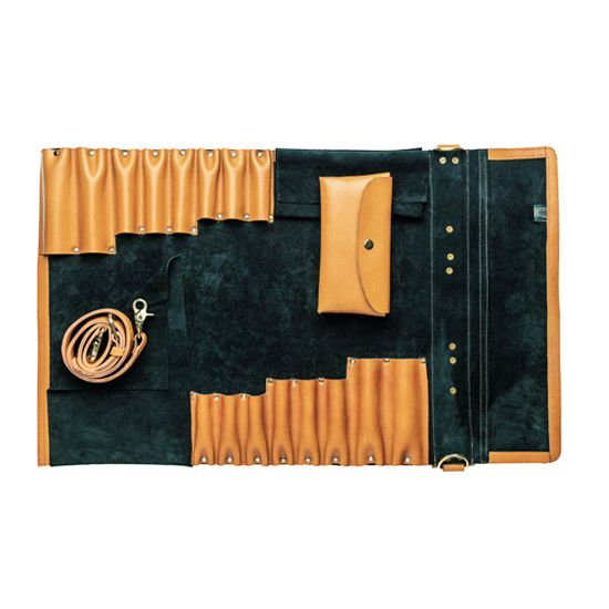 Leather knife roll in orange color without knife