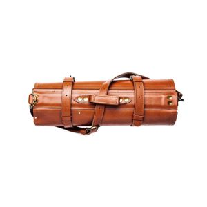 Leather knife roll in orange color
