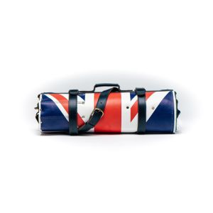 Leather knife roll in union jack flag color