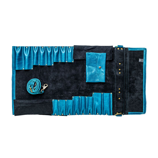 Chefi blue leather knife bag without knife