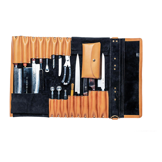Leather knife roll in orange color with knife