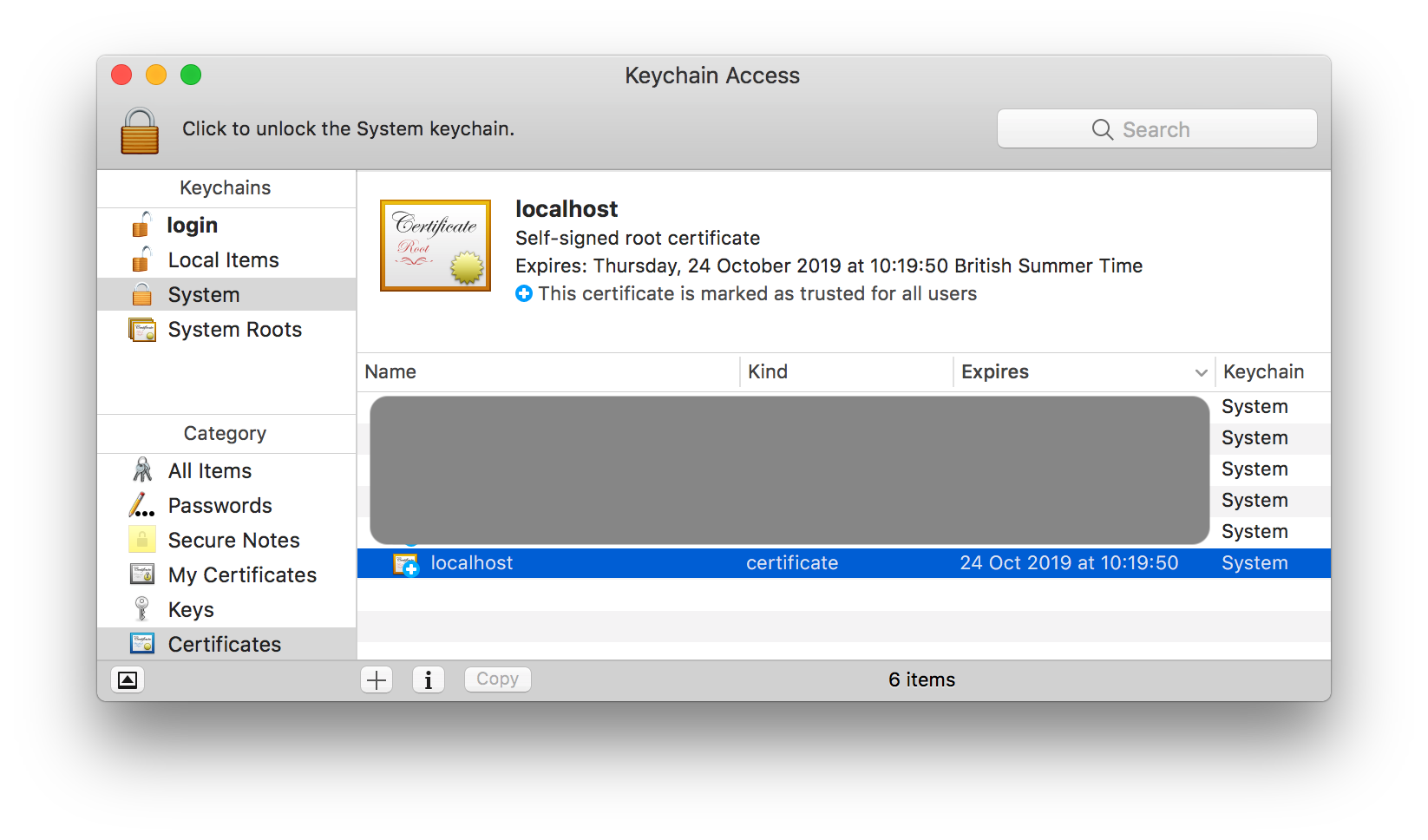 Screenshot of Keychain Access on Mac - After