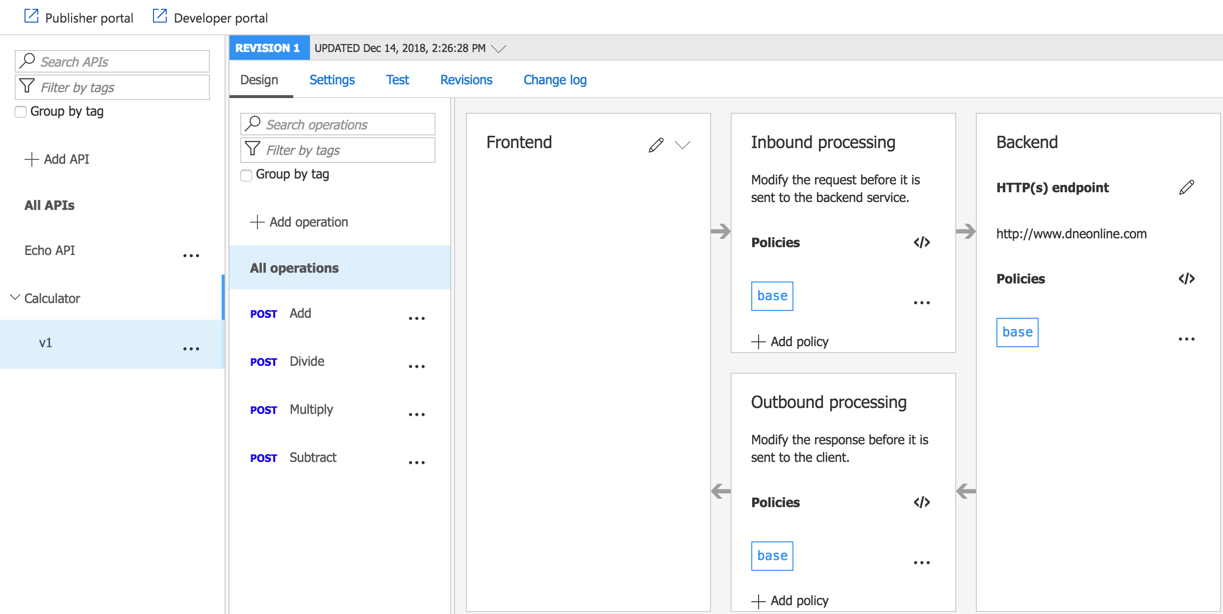 SOAP to REST Azure API management design screen