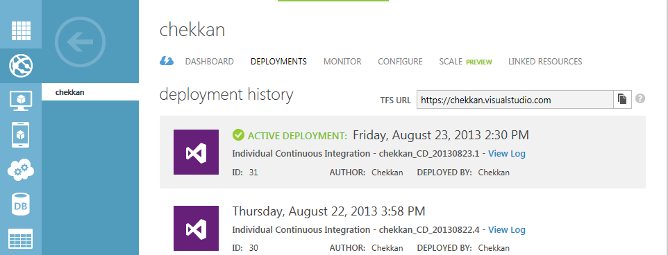azure deployment history dashboard