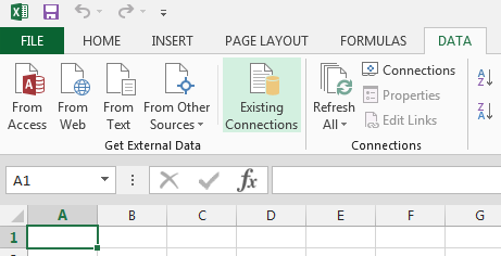 Add existing connection data tab in excel