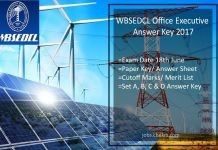 WBSEDCL Office Executive Answer Key- (18th June) Paper Key, Cut off Marks (Expected)