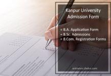 Kanpur University CSJM Admission Form, BA BSC BCOM Last Date