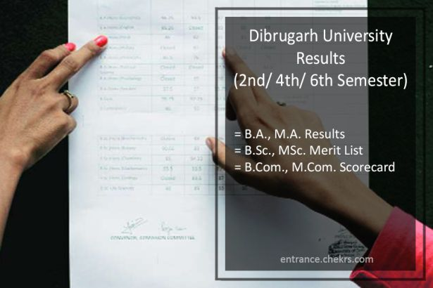 Dibrugarh University BA BSC BCOM Result, 2nd-4th-6th Sem MA MCOM MSC Results
