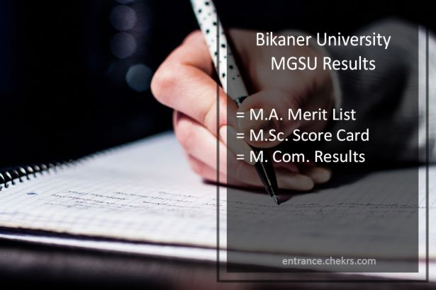 MGSU MA MSC MCOM Result , Bikaner Univ Previous/ Final Year Results