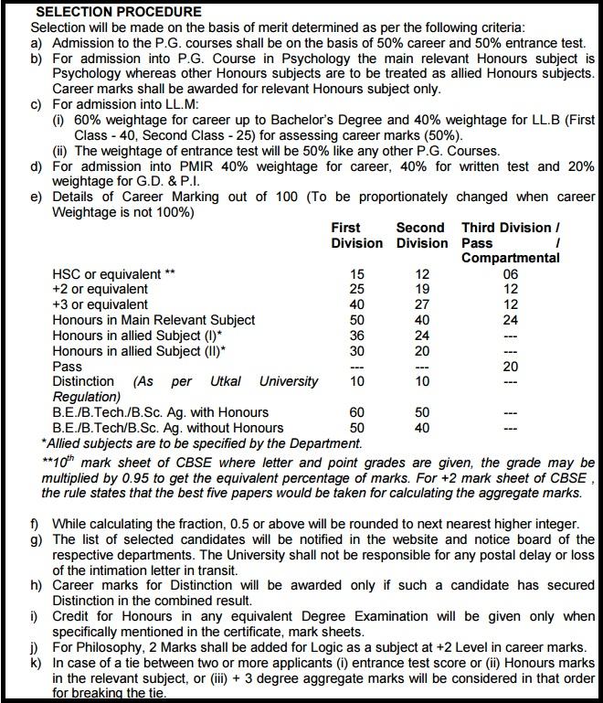 Utkal University PG Admission - Entrance Test Result, Merit List Cut Off