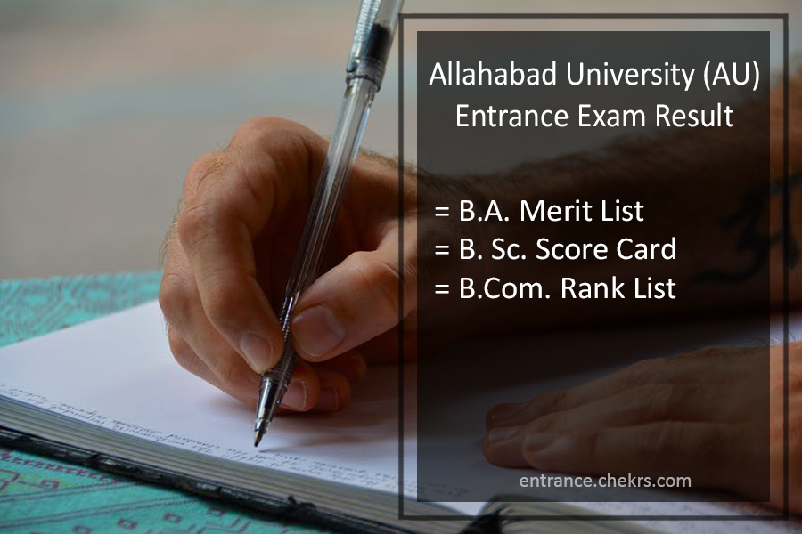 Allahabad University (AU) Entrance Exam Result - UGAT BSC BA BCOM Results