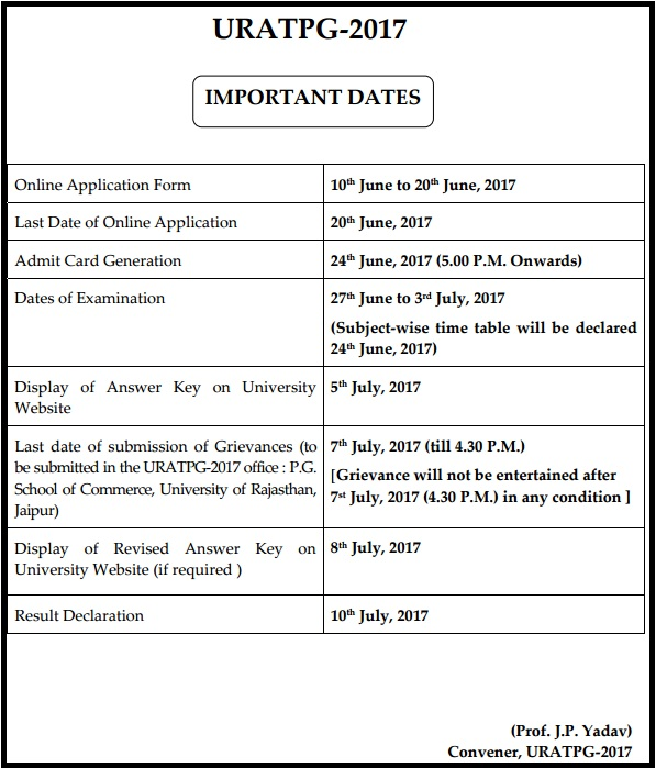 Uniraj PG Entrance (URATPG) Exam Admit Card - MA MSC MCOM Admission Test Hall Ticket