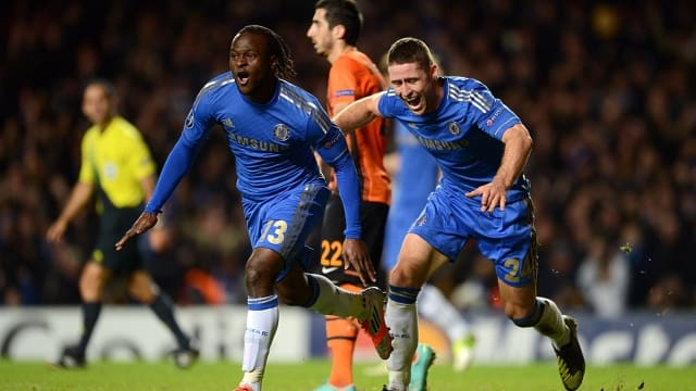 Moses wheels away after heading a last-minute against Shakhtar Donetsk in 2012
