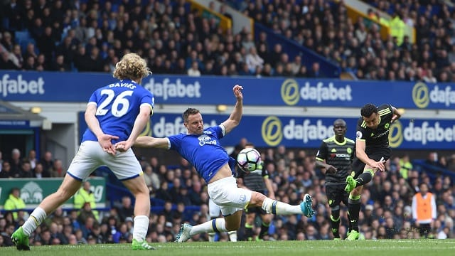 Pedro scores a spectacular goal against Everton en route to the title