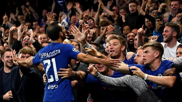 Zappacosta celebrates with the fans after scoring his first Chelsea goal