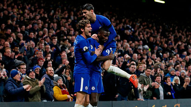 Rudiger celebrates his first league goal for the club against Swansea