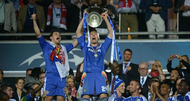 Gary Cahill lifts the European Cup in Munich