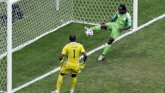 Moses clears off the line in the 2014 World Cup
