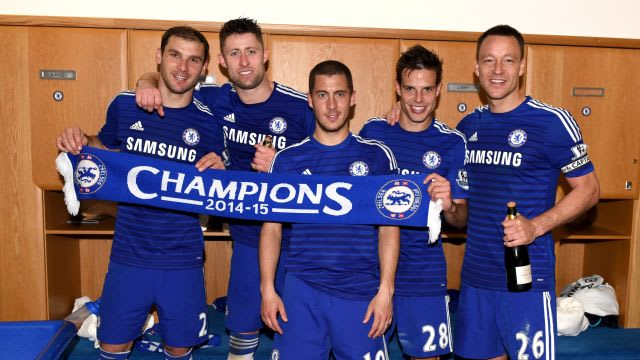Azpilicueta celebrates our title with his fellow defenders and player of the year Eden Hazard