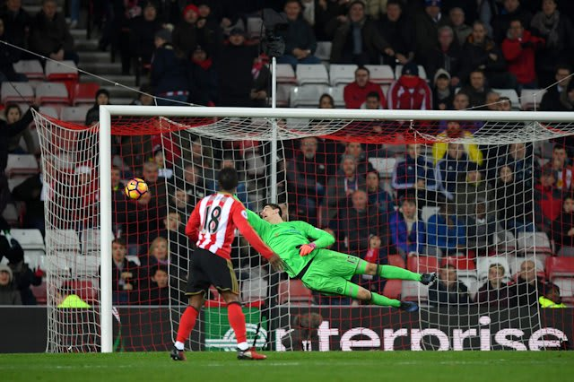 Courtois produces an unbelievable stop to deny Van Aanholt at Sunderland