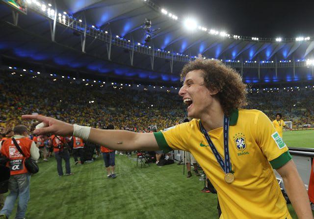 David Luiz celebrates victory at the 2013 Confederations Cup