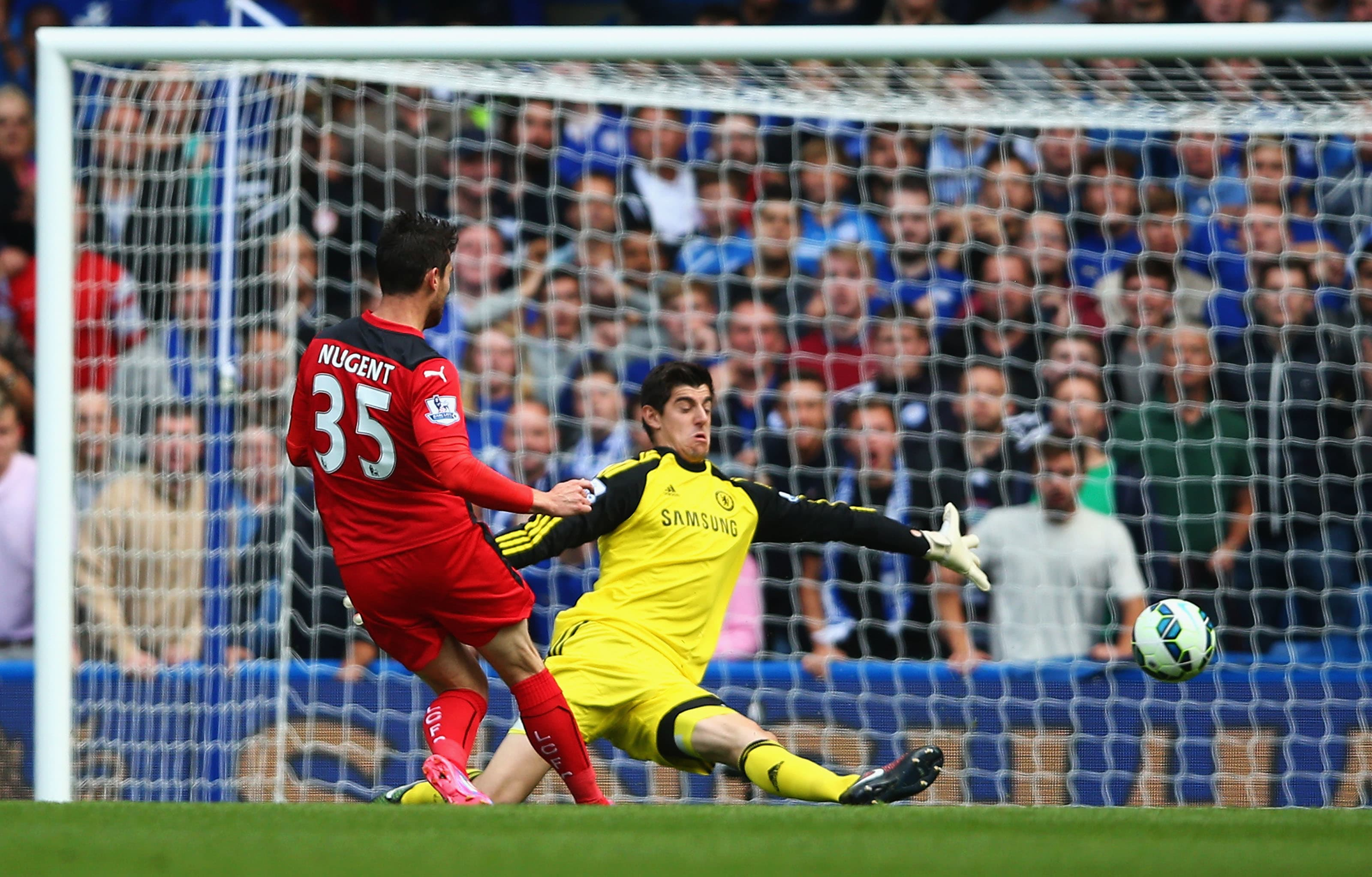 Courtois saves from Nugent to preserve his first Chelsea clean sheet