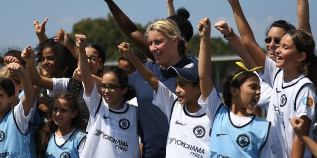 Emma Hayes and two Chelsea Women players make a surprise visit to girls football session in Tel Aviv | Official Site | Chelsea Football Club