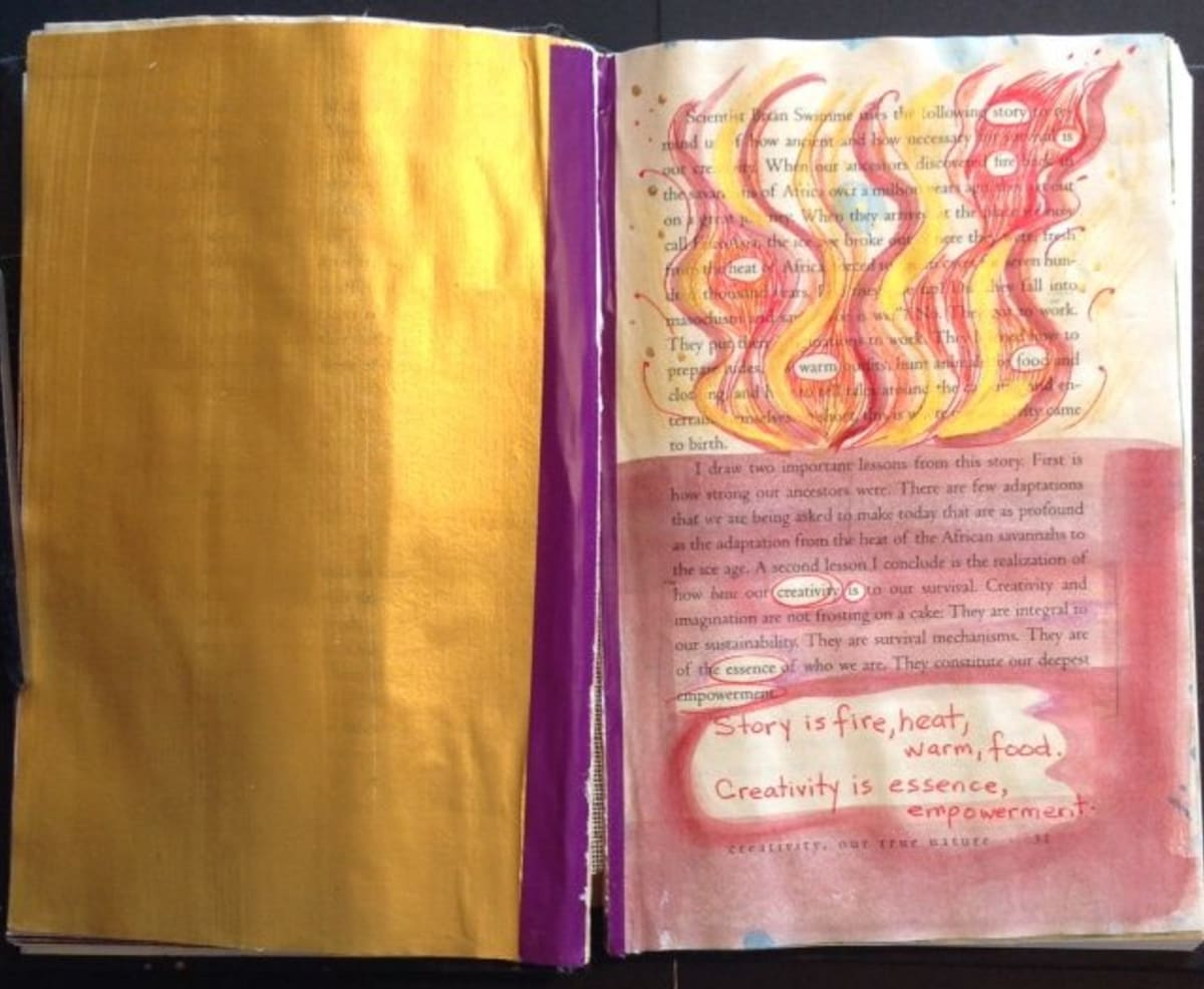 FIRE: a poem by Judy Sorum Brown and a book page of mine