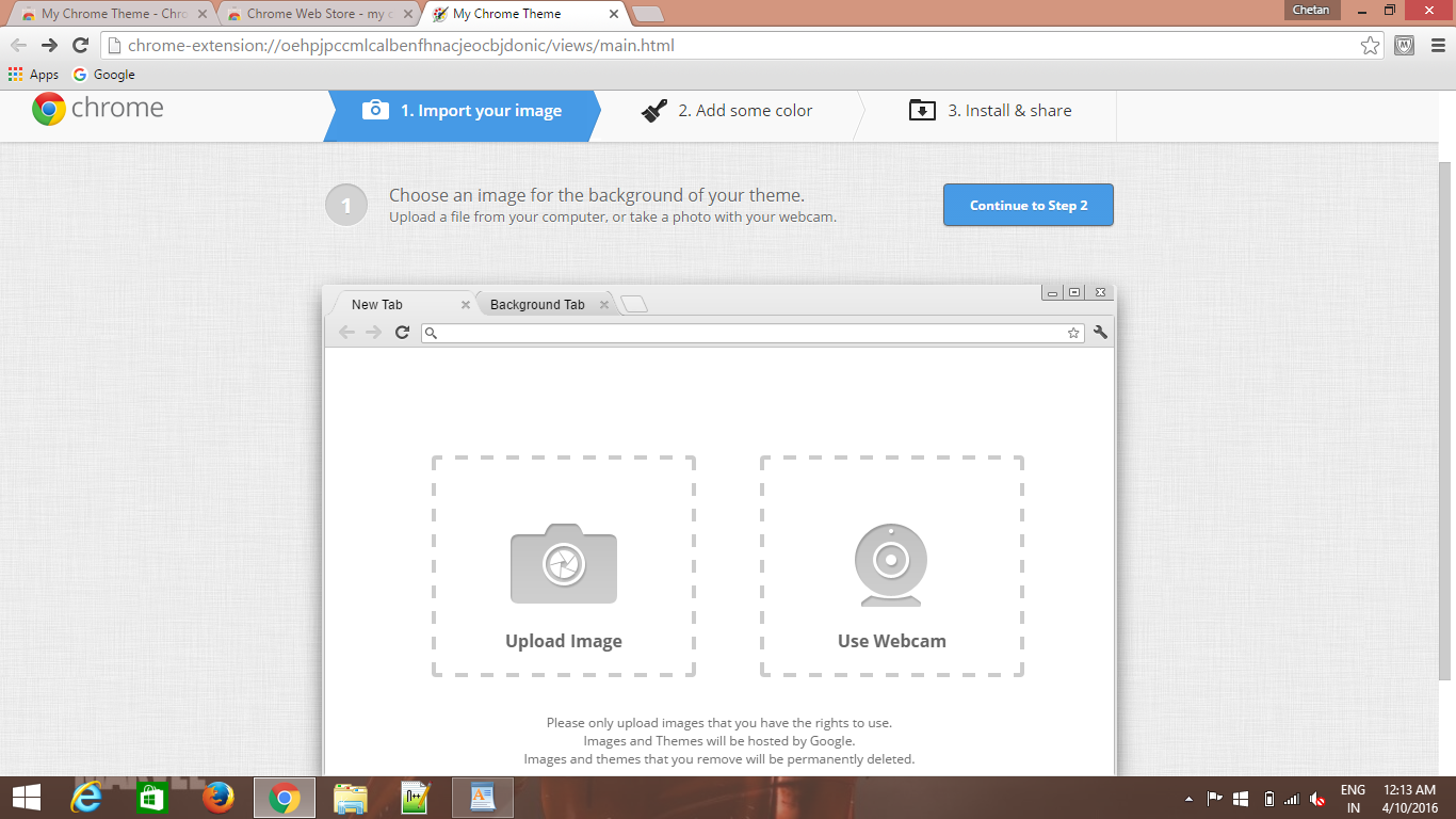 your own Google chrome theme