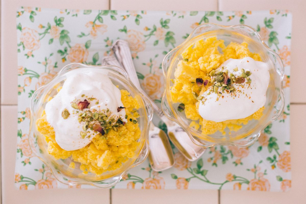 Mango Lassi Granita and Ginger Chantilly Cream with Rose-Pistachio Dukka