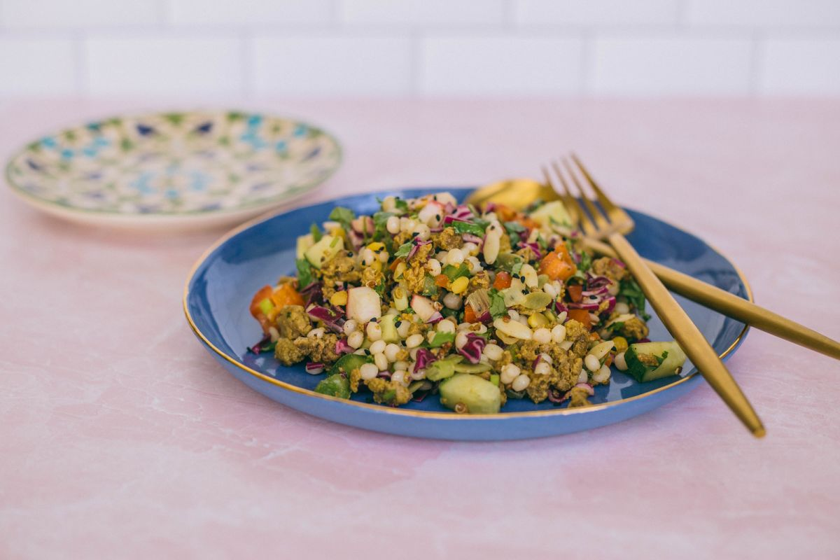 Mediterranean Pearl Couscous Salad with Sumac Dressing