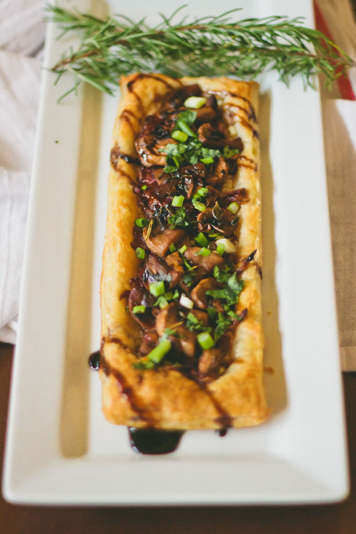 Caramelized Onion and Chanterelle Tart with Balsamic Guinness Glaze