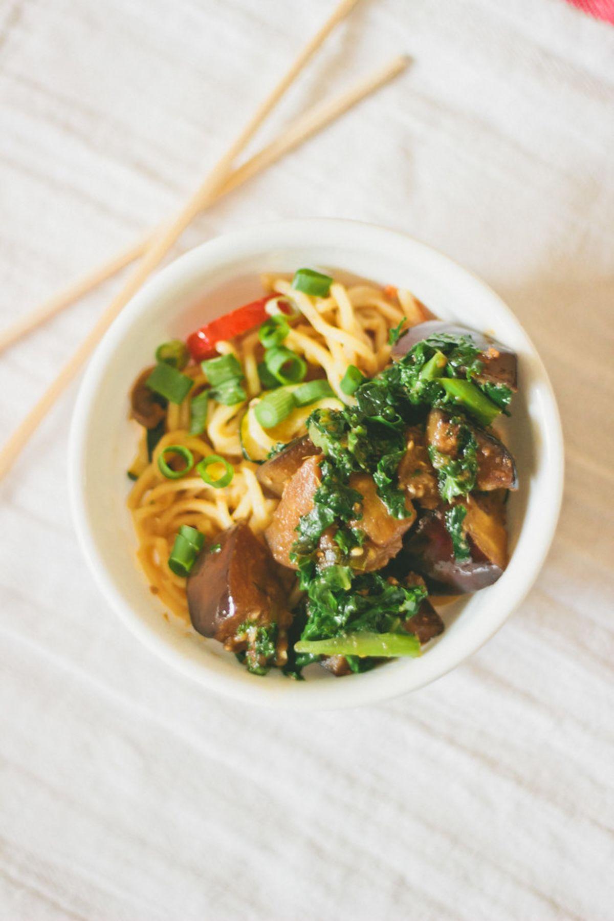 Aubergine Kale Noodle Bowl
