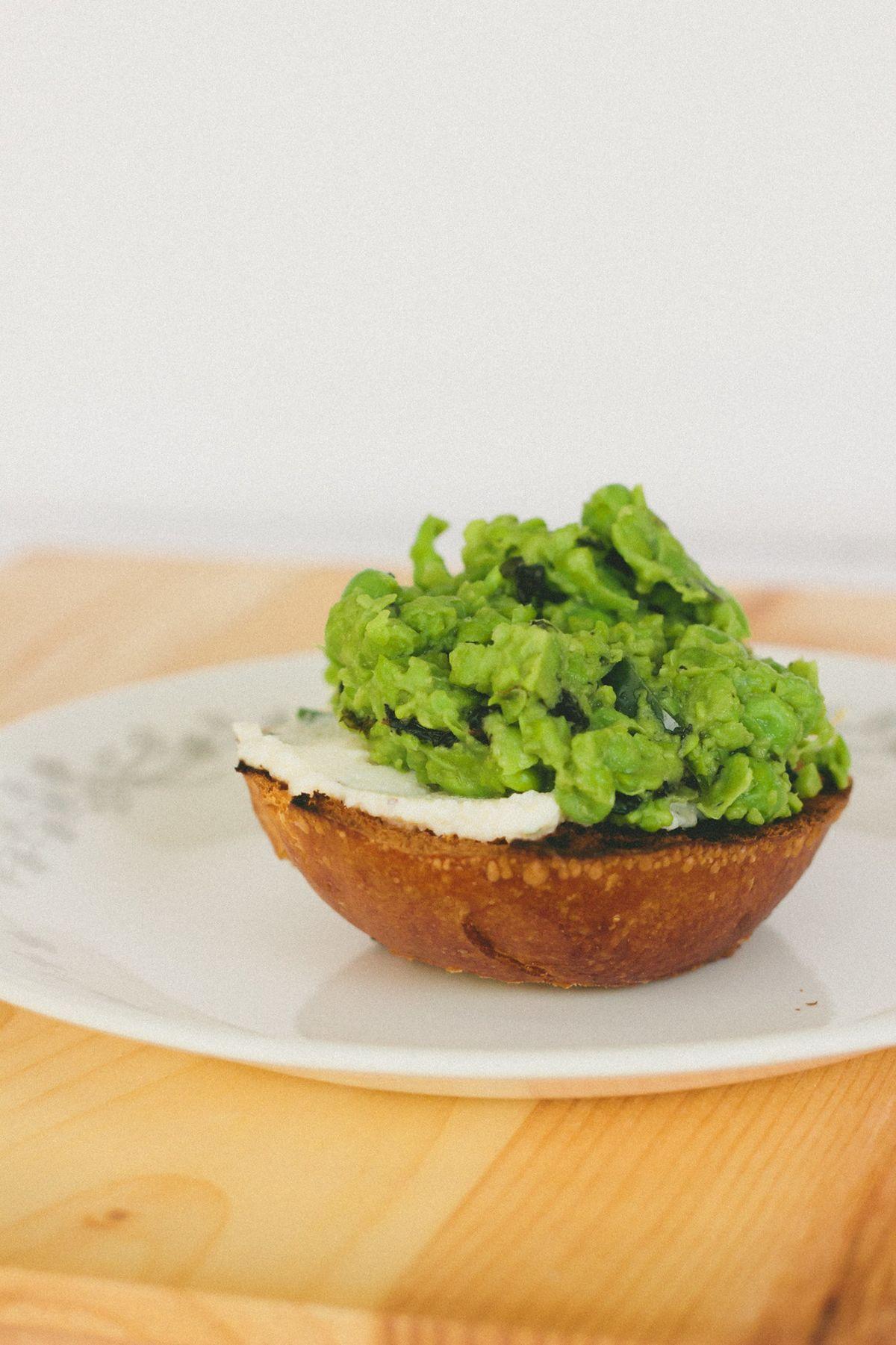 Green Peas Mint and Chili Tartine