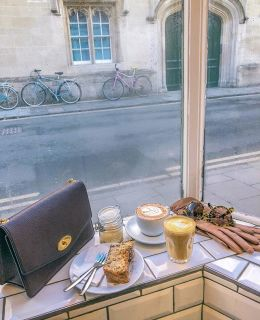 {AD-affiliate links} the quiet moments sipping coffee, people watching and fueling up on cakes for another 'into the evening' long walk in Oxford… @themissingbean ☕️ shop my purse & sunnies via http://liketk.it/2A1gH #liketkit @liketoknow.it