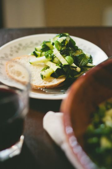 Raw Zucchini Salad with White Balsamic Vinaigrette