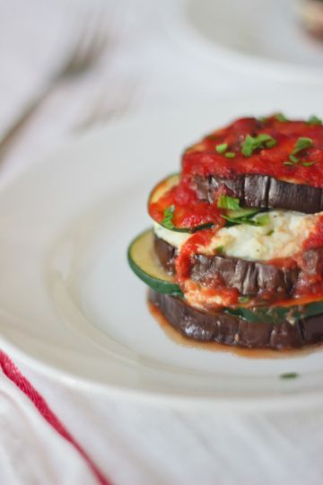 Roasted Eggplant Lasagna Stacks with Mushroom Bolognese