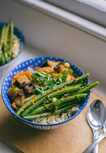 Aubergine Stew with Rosemary Couscous & Green Beans in Chili Pesto Cover Image