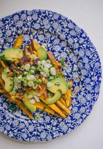 Vegetarian Loaded Sweet Potato & Chili Fries Cover Image