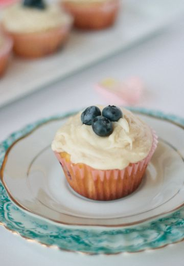 Blueberry Coulis Cupcakes with Maple-Brown Butter Frosting Cover Image