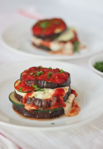 Roasted Eggplant Lasagna Stacks with Mushroom Bolognese Cover Image