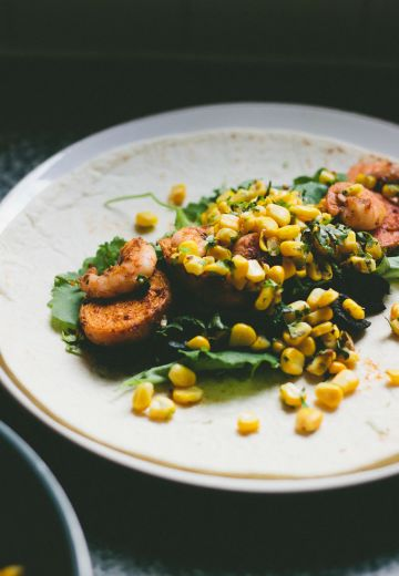 Prawn and Sweet Potato Burrito with Warm Sweetcorn Salsa Cover Image