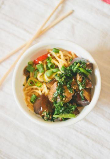 Aubergine Kale Noodle Bowl Cover Image