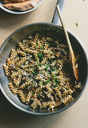 Fusilli with Caramelized Onions and Mushrooms in a Brown Butter Sage Sauce Cover Image