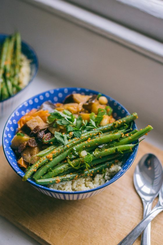 Aubergine Stew with Rosemary Couscous & Green Beans in Chili Pesto