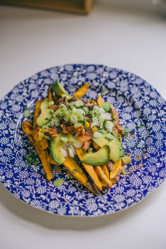 Vegetarian Loaded Sweet Potato & Chili Fries