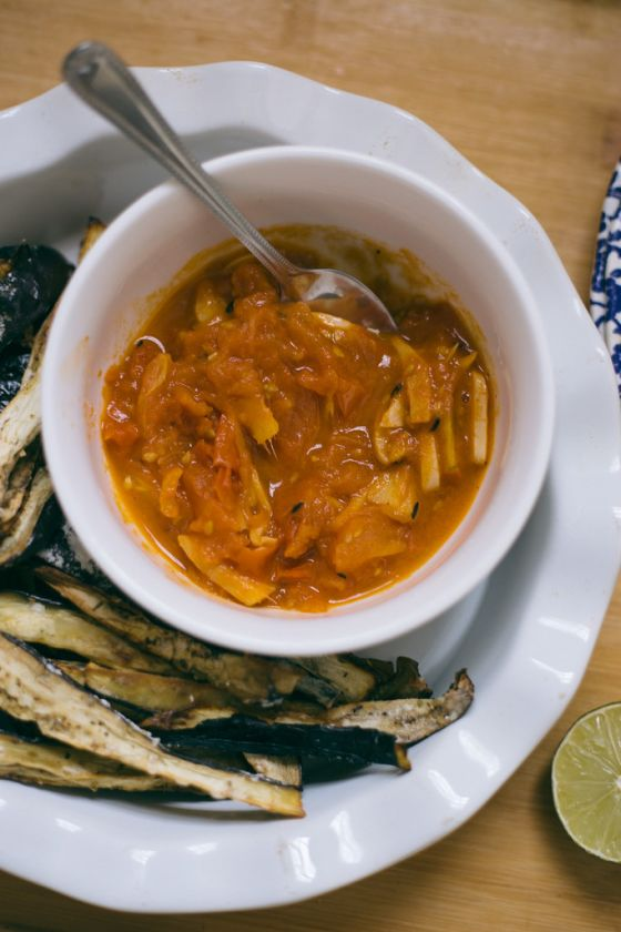 aubergine chips with smokey tomato compote