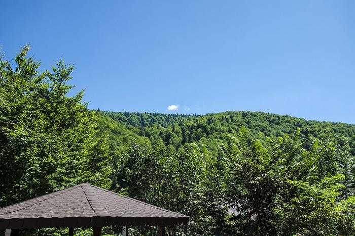 Vedere munte şi grădină în camera dublă de la parter