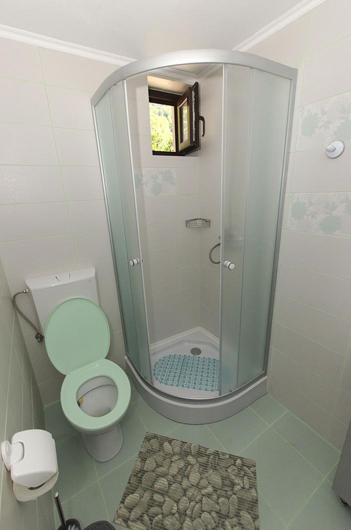 Duş în baia privată a camerei duble de la parter, cu vedere la grădină